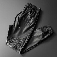 Thoshine Brand Uomo Pantaloni in pelle Pantaloni Superior Qualità Elastico Elastico Pantaloni da jogger Pantaloni da tasca per moto Pantaloni per ecopelle Pantaloni Harem 201112