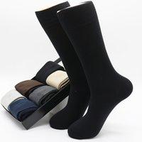 الرجال الصلبة اللون كبير الحجم الأعمال الجوارب المتناثرة الشتاء الأزياء القطن الخالص مزيل العرق عارضة الجوارب السوداء الأسود (الحجم 42-48)