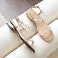 Sandals Women Flat Summer 2021 ZAR Shoes Sexy Thick Heel Women's Pearl Lazy Slippers Beach Chaussure Femme