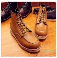 sale mens boots spring red ankle boots man wing warm outdoor work cowboy motorcycle heel 2021