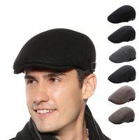 Beret Wool Retro Artist Hat Ear Muff French Bonnet Caps Men Outdoor Autumn Travel Warm Winter Windproof New Fashion European American Newsboy Baker Flat Cap GYL125