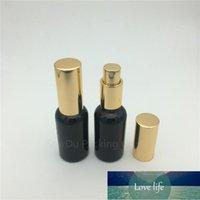 Storage Bottles & Jars 500pcs lot 30ml Black Glass Bottle With Gold Perfume Aluminum Sprayer, Essential Oil Spray