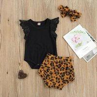 Pudcoco 유아 아기 패턴 인쇄 3 조각 세트, 유아 소년 소녀의 O 넥 비행 슬리브 Romper + 반바지 머리띠 세트 의류 세트