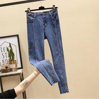 Осенние пэчворки женские джинсы высокие талии карандашные брюки растягиваются тощие для девочек кольцо плюс размер лодыжки длиной жгута4xl