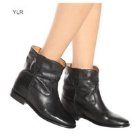 Perfect Quality Isabel Cluster Paris Street Fashion Marant New Genuine Leather Shoes Round Toe Ankle Boots