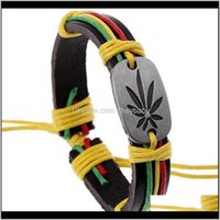 Charm Bracelets Rasta Jamaica Reggae Leather Bracelet Crfjn Bmmfs