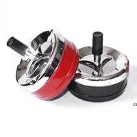 Cendrier rond en plastique en métal créatif avec couvercles Presse Porte-cigarette portable rotative voiture Ashtrey DHD7561