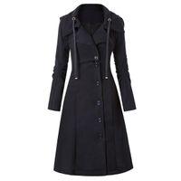 여성 트렌치 코트 중세 트렌치 여성 자켓 긴 검은 겨울 세련된 칼라 세련된 Streetwear Outwear 빈티지 펑크 H451