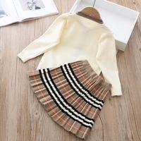 2020 Sonbahar Yeni Varış Kızlar Moda Örme 2 Parça Setleri Kazak Ceket + Etek Kız Butik Kıyafetler Bebek Kız Kış Giysileri X0923 493 Y2