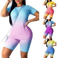Sports Suit 2Pcs Set Neon Womens Tracksuits Top Short Pants Workout Clothes Tracksuit Fashion Summer Outfit Ladies Casual 2 Piece