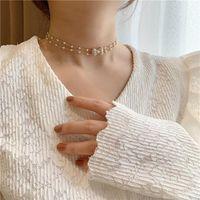 Estilo Coreano Luxo Vintage Geométrico Bowknot Rhinestone Gargantilha Colares Para Mulheres Pérola Casamentos Noiva Jóias Chopers