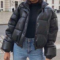 Winter Parkas Women Coat Short Down Jackets For Women Female PU Leather Bomber Jacket Elegant Doudoune Femme Veste Manteau 2021 H1023