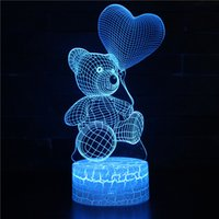 Small Night Lights 3D Love Bear Colorful LED Gift Acrylic Table Lamp Touch Remote Control Home Room Decoration Desk Lamp