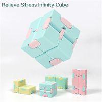 Infinity Mini Fidget 장난감 키즈 Magic Cube Blocks 성인 손가락 불안 스트레스 릴리프 압축 해제 소매 상자가있는 재미 있은 장난감
