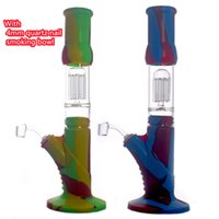 Unbreakable Silicone Bongs arm tree Percolators Perc Removable Straight Glass recycler bong With Glass Bowl With 4mm Quartz Banger nail
