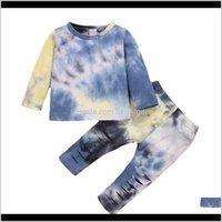 Sets Baby, Kids & Maternity Brand Autumn Clothing Born Infant Baby Boy Girls Long Sleeve Tie Dye Print T-Shirts+Hole Pants Leggings Homewear