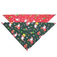 Decorazione natalizia Dog Bandana Bib Sciarpa Riutilizzabile Comfort pratico Soft Santa Print PET Grooming Accessori per un facile utilizzo pratico