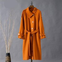 Women's Wool & Blends Winter Fashion Mid-Length Style Lapel Long-Sleeved Solid Color Double-Sided Coat Temperament Female Trendy H381