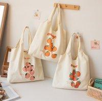 DHL50PCS Sacs Shopping Sacs Femmes Toile De grande capacité Orange Strawberry Print Sac à bandoulière