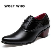 WOLF WHO Luxury Men Dress Wedding Shoes Glossy Leather 6cm High Heels Fashion Pointed Toe Heighten Oxford Party Prom X-196 210827