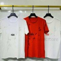 Neue Ankunft Luxus Europa Paris gebrochene Löcher T-shirt Zwei Ebenen Stoff Tshirt Männer Frauen Große Brief Drucken T-shirt Designer Tshirts Baumwolle T-Stück