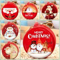Christmas Candy Mini Bag Santa Claus Pendant Cartoon Coin Purse Cute Children Wallet Earphone Organizer Box Christmass Gift GWB11134
