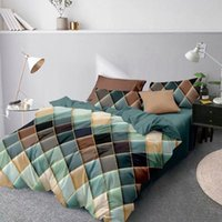 Bedding Sets Quilt Cover Set Duvet Breathable Bed Linens Imitated Silk Fabric Home Textiles Colorfast Geometry Comforter