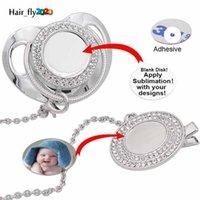 DIY personalizar a sublimation bling chupeta com clipe colar de cristais Favor Favor para Baby Keepsake Brithday Gift HJ24