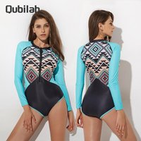 Two-piece Suits One Piece Swimsuit Women Summer Print Zipper Long Sleeve Swimwear Sports Surfing 2021 Women's Swimming Bathing Suit Beach Ba