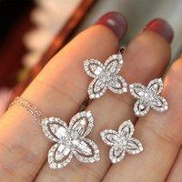 2021 moda trevo de quatro folhas 925 Sterling Silver Dubai conjuntos para mulheres aniversário presente de jóias inteira J6261