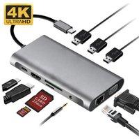 متعددة الوظائف 10 في 1 USB-C Hub 3xusb 3.0 HDTV VGA الصوت SD TF Reader RJ45 Ethernet PD شحن ل MacBook Tablet