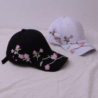 Cap Plum Peach Blossom Вышитые бейсбольные летние женские чистые хлопчатобумажные корейские досуг солнцезащитная шляпа