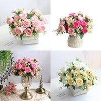 1 Ramo de 5 cabezas Peony artificial Té Flores de rosa Camelia Seda Fallo Flower para DIY Home Garden Decoración de la boda OWD9132