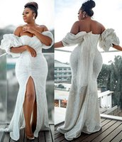 2021 Plus Size Arabic Aso Ebi White Sparkly Mermaid Prom Dresses High Split Sequined Evening Formal Party Second Reception Bridesmaid Gowns Dress ZJ663