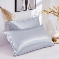 Funda de almohada de seda Caja de almohada suave Cozy Cool Solid 2 colores Revestimientos de cama de poliéster 100% Reina cubierta estándar