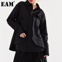 [EAM] Женщины черные трехмерные большие размеры блузки отворота с длинным рукавом свободная подходит рубашка мода прилив весна осень 2021 A554 женские блузки