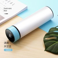 Creativity Sublimation Blanks Water Bottle 500ml Stainless Steel Straight Vacuum Flask with LED Touch Display Temperature NHD6656 sea ship