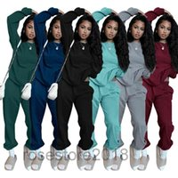 autumn And Winter fashion 2021 women tracksuit solid color casual round neck long sleeve two-piece set 6 colors