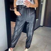 ПУ кожаные старинные брюки женские черные классические Y2K панк высокие талии карманы прямые широкие ноги Harajuku коричневые офисные брюки женские капризы