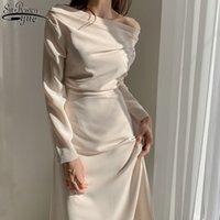 Нерегулярная тонкая и стройное платье Joker женщин белый черный длинный рукав колфель шеи сексуальные зрелые длинные платья Vestido 13067 210417