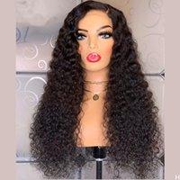 24 pouces Noire Synthetic Wigs pour femmes Kinky Kinky Courby Dentelle Dentelle Perruques Front avec BabyAir Partifase Libre Daily / Fête Perruques