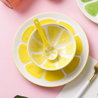 Bowls Creative Hand-painted Tableware Ceramic Dessert Watermelon Fruit Bowl Cute Cartoon Cup Set Home Salad Rice
