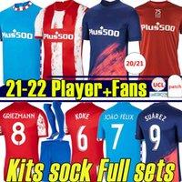 21/22 Atletico Soccer Jerseys Fans Palyer Version Suárez مدريد 2021 2022 Grizmann João Félix Koke M.llorente Dembélé Lemar Men Kids Kits جورب مجموعات كاملة كرة القدم جيرسي