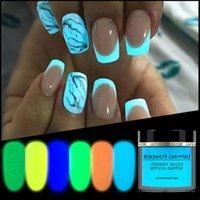 Nuovo 1box Neon Fosphor Dirghetto Polvere luminosa Nail Art Decorazioni fluorescenti Glitter Glow Pigment Polvere Polvere UV Gel Polish Design