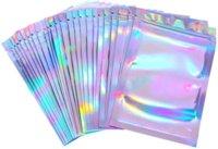 100 Parça Sıfırlanabilir Koku Geçirmez Çanta Folyo Kılıfı Çanta Düz Lazer Renk Paketleme Çantası Parti Favor Yiyecek Depolama Holografik En Ucuz