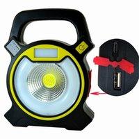 10pcs / lot USB wiederaufladbare 10W COB-LED-Arbeitslichter mit runder Lichtblitzlampe tragbare Außenlaterne 18650 Batterielaternen