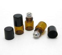 100pcs / lot 1ml Mini Verre Mini Amber Vide sur Botte Flacons Échantillon pour huile essentielle E PARFUM LIQUIFIQUE 2 TYPES BALLE DE ROULEUR