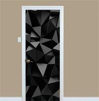 3D Autoadesivi per porte del modello geometrico Soggiorno Camera da letto PVC Porta autoadesiva Porta Carta da parati Home Decor Impermeabile Murale Della Parete Decalcomanie 693 V2