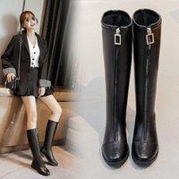 Boots 2021 Women's Elastic Thick Heel Front Zipper High Top Rider Large Size 41-43 Knee Ladies Black Warmth Work