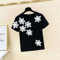 Women's T-Shirt Casual Cotton Five-Pointed Star Beading Women Short Sleeve Tee Shirts Female Solid Tees Ladies Summer Tops Y2k Harajuku
